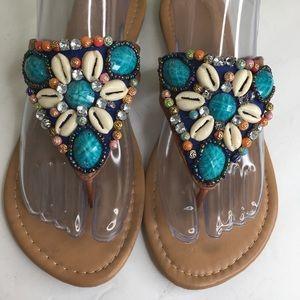 Avon Women's Embellished Beads & Shells Flip Flop